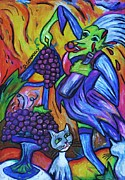 Fun Pastels Posters - Green Witch With Sour Grapes Poster by Dianne  Connolly