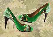 Stilettos Paintings - Green with Envy Pumps by Elaine Plesser