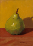 Pear Art - Green with Yellow by John Holdway