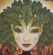 Druidic Framed Prints - Green Woman Framed Print by Yuri Leitch