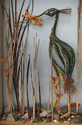 Raffia Sculptures - Greenback Heron by Beth Lane Williams
