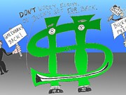 Editorial Cartoon Mixed Media - Greenbacks Back by OptionsClick BlogArt