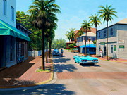 T-bird Painting Framed Prints - Greene Street Key West Framed Print by Frank Dalton