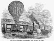River Transportation Framed Prints - Greens Balloon, 1845 Framed Print by Granger