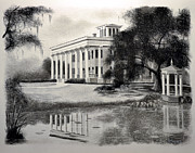 Historic Home Drawings Metal Prints - Greenwood Plantation Metal Print by Ron Landry