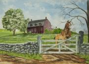 Old Barn Painting Posters - Greeting At The Gate Poster by Charlotte Blanchard