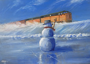 Railroad Snow Paintings - Greetings by Christopher Jenkins