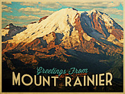 Snowy Mountain Framed Prints - Greetings From Mount Rainier Framed Print by Vintage Poster Designs
