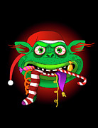 Vertical Digital Art - Gremlin Eating Candy And Christmas Stocking by New Vision Technologies Inc