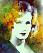 Garbo Framed Prints - Greta Garbo Abstract Pop Art Framed Print by Stefan Kuhn