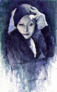 Watercolour Painting Metal Prints - Greta Garbo Metal Print by Yuriy  Shevchuk