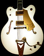 Gretsch Guitar Framed Prints - Gretsch White Falcon Framed Print by Lourry Legarde
