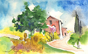 Italian Landscapes Drawings Prints - Greve in Chianti in Italy 01 Print by Miki De Goodaboom