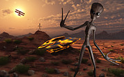 Skinny Digital Art Prints - Grey Aliens At The Site Of Their Ufo Print by Mark Stevenson