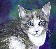 Watercolor Print Framed Prints - Grey and White Kitten Framed Print by Cherilynn Wood