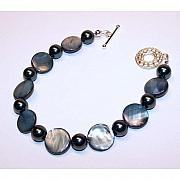 Handcrafted Jewelry - Grey-Blue Shell Bracelet by Kelly DuPrat