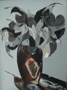 Pallet Knife Painting Prints - Grey Flowers in Vase Print by Jamie Frier