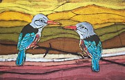 Grey Tapestries - Textiles - Grey headed Kingfisher by Lukandwa Dominic