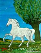 Grey Horse Print by Anna Folkartanna Maciejewska-Dyba
