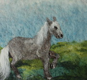 Needle Tapestries - Textiles Prints - Grey Horse Print by Nicole Besack