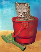 Kitty Digital Art - Grey Kitty Cat in a Red Bucket by Dessie Durham