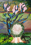 Fantasy Tree Art Print Mixed Media Posters - Grey Matter Poster by Lisa Kramer