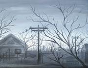 Cloudy Day Paintings - Grey Neighborhood by Michael Morgan