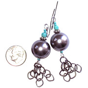 Grey Jewelry Originals - Grey Pearl and Gun Metal Earrings by Elizabeth Carrozza