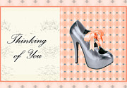 Digital Art Of High Heels Metal Prints - Grey Shoe Thinking of You Metal Print by Maralaina Holliday