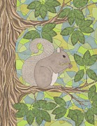 Grey Squirrel Print by Pamela Schiermeyer