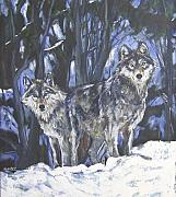 Grey Wolf Mixed Media Framed Prints - Grey Wolves Framed Print by Debora Cardaci