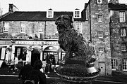 Greyfriars Bobby Statue In Front Of The Bar Candlemaker Row Edinburgh Print by Joe Fox