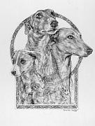 Hound Dogs Prints - Greyhound - The Ancient Breed of Nobility - A Legendary Hidden Creation series Print by Steven Paul Carlson