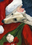 Santa Puppy Posters - Greyhound and Santa Poster by Charlotte Yealey