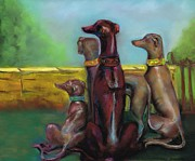 Dogs Pastels Prints - Greyhound Figurines Print by Frances Marino