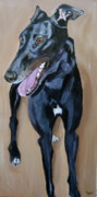 Dog Portrait Paintings - Greyhound by Kellie Straw