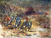 Most Popular Paintings - Greyhound racing by Zaira Dzhaubaeva