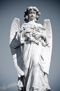 Sky Sculpture Posters - Grieving Angel on the old graveyard Poster by Yurix Sardinelly