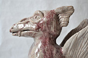Fired Clay Sculpture Sculpture Framed Prints - Griffin Framed Print by Stephen Frank