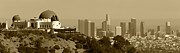 Griffith Metal Prints - Griffith and Los Angeles Sepia Metal Print by Ricky Barnard