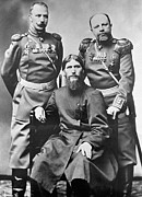 Russian Revolution Framed Prints - Grigori Rasputin With Russian Soldiers Framed Print by Ria Novosti
