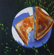 Sandwich Painting Posters - Grilled Cheese Please Poster by Sarah Vandenbusch