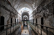 Banister Posters - Grim Cell Block in Philadelphia Eastern State Penitentiary Poster by Gary Whitton