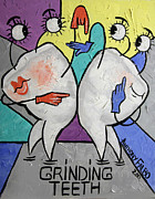 Artist Mixed Media Metal Prints - Grinding Teeth Metal Print by Anthony Falbo