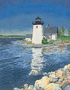 New England Ocean Painting Posters - Grindle Point Light Poster by Dominic White