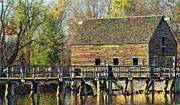 Old Mills Photos - Grist Mill in Oil by Bedford Shore Photography
