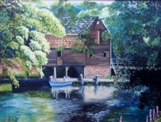 Wooden Building Painting Posters - Grist Mill Philipsburg NY Poster by Marlene Book