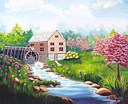 Grist Mill Paintings - Gristmill and Springtime SOLD by Ruth  Housley