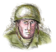 Sketch Digital Art - Gritty World war two soldier by Aloysius Patrimonio