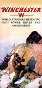Ammunition Posters - Grizzly And Hunter Poster by N C Wyeth